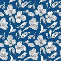 motif transparent bleu foncé avec des fleurs et des bourgeons d'alstroemeria blancs