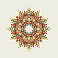 mandala pointu orange, jaune et vert vecteur