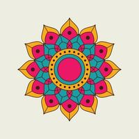 mandala floral pointu orange, rose et bleu vecteur