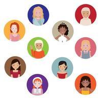 avatars femme et fille dans des cercles colorés vecteur