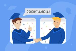 concept de graduation virtuelle avec deux adolescents vecteur