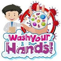 thème coronavirus avec médecin et mot vous laver les mains vecteur