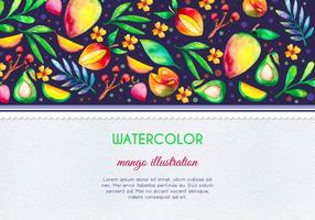Vector Free Watercolor Mango and Fruit Card Illustration