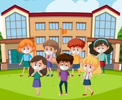 scène avec des enfants malades à l'école vecteur