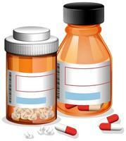 pilules dans deux bouteilles sur fond blanc vecteur