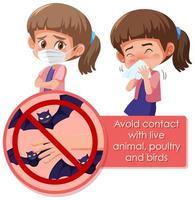 conception d'affiche de coronavirus avec une fille malade toussant vecteur