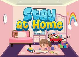 fille restant à la maison pour éviter de propager le virus corona