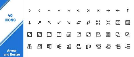 40 flèches et redimensionner les icônes web dans le style de ligne vecteur