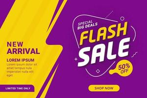 bannière de réduction de vente flash violet et jaune vecteur