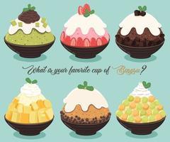 ensemble de desserts bingsu vecteur