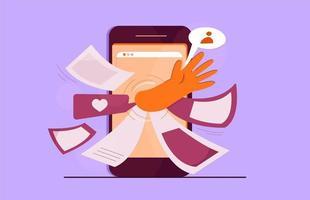 concept de dépendance de téléphone mobile avec la main et les messages