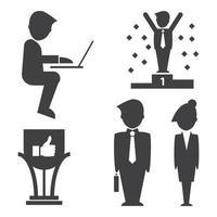 icônes de succès commercial vecteur