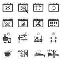 icônes de routine quotidienne de calendrier vecteur