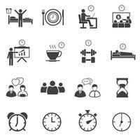 temps d'affaires et icônes de routine quotidienne vecteur