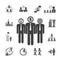 icônes de gestion de l'équipe commerciale