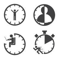 jeu d'icônes de gestion du temps d'affaires vecteur