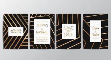 cartes d'invitation de mariage de luxe élégant vecteur