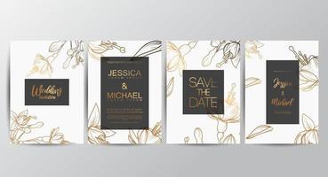 cartes d'invitation de mariage floral vecteur