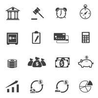 ensemble d'icônes de finance et d'investissement vecteur