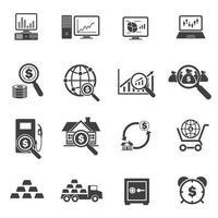 jeu d'icônes de finance big data