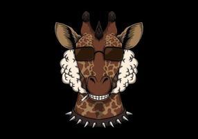 tête de fumée de girafe vecteur