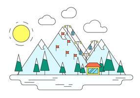 Illustration vectorielle de la station de ski d'hiver vecteur