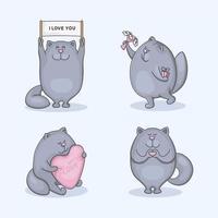 jeu de caractères mignon de chat amoureux