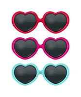 ensemble de lunettes de soleil en forme de coeur vecteur