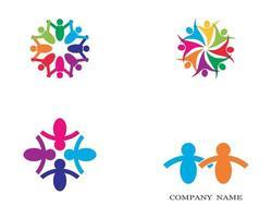 jeu d'icônes de logo social communautaire vecteur