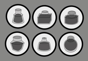 Vecteur de pot d'encre noir simple