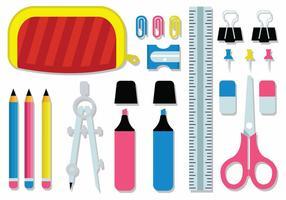 Kit de fournitures de papeterie pour étudiants gratuits vecteur