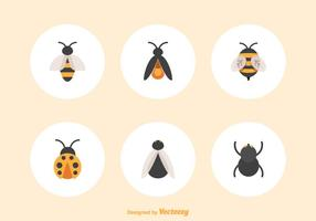 Icônes plates libres d'insectes vecteur