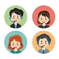 ensemble d'avatar de centre d'appels de personnes aux cheveux noirs vecteur