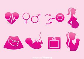Icônes roses de l'élément maman enceinte vecteur