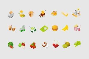 Paquet vectoriel d'icônes alimentaires