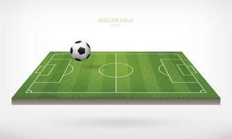ballon de football sur le terrain de soccer vecteur