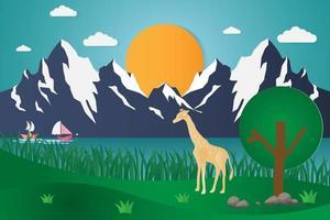 girafes près du lac avec des montagnes