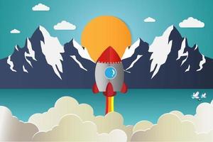 lancement de fusée avec des montagnes en arrière-plan
