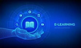 icône e-learning dans la main robotique vecteur