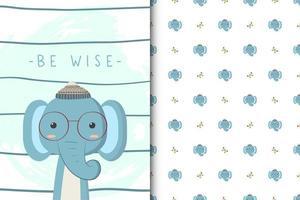 être sage motif d'éléphant vecteur