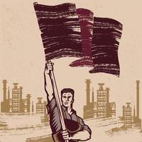 homme, agitant, drapeau révolutionnaire vecteur