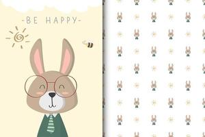 sois heureux lapin vecteur