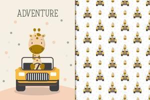 girafe aventure au volant d'une voiture vecteur