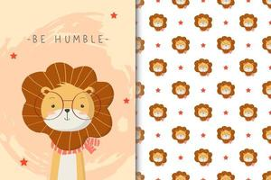 être humble motif de lion