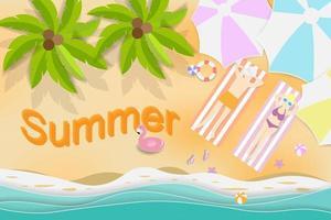 concept de design d'été avec des parapluies vecteur