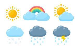 jeu d'icônes météo en style cartoon vecteur
