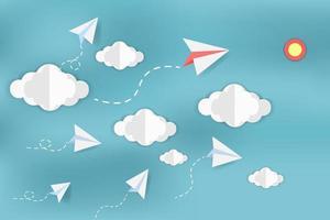 avions en papier dans le ciel avec des nuages vecteur
