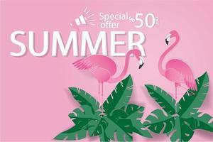 bannière de vente d'été flamingo