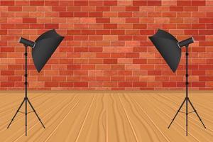 studio photo avec parapluie de photographie et mur de briques vecteur
