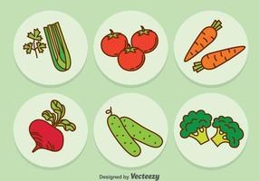 Vecteur d'icônes de dessin animé de légumes